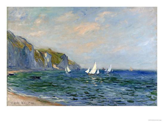 Cliffs and Sailboats at Pourville-Claude Monet-Premium Giclee Print