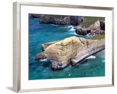 Cliffs at Tunnel Beach, Dunedin, New Zealand-David Wall-Framed Photographic Print