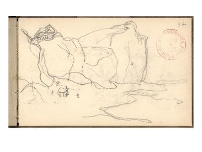 Cliffs Near Pourville-Varengeville (Pencil on Paper)-Claude Monet-Giclee Print