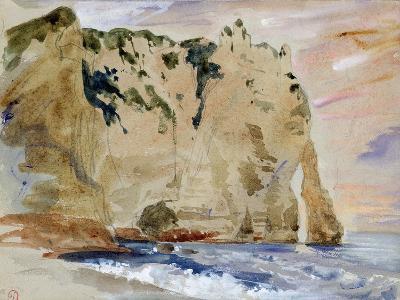 Cliffs of Etretat. the Pied Du Cheval, 1838 (W/C and Gouache on Paper)-Eugene Delacroix-Giclee Print