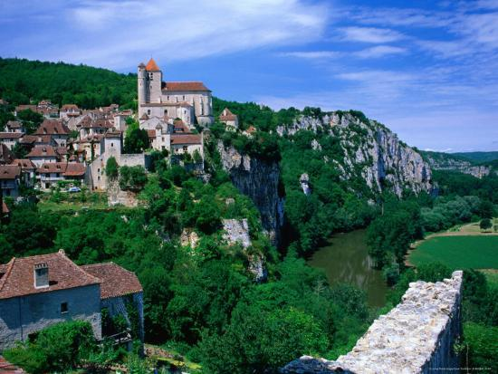 Clifftop Village Perched High Above the River Lot, St. Cirq Lapopie, Midi-Pyrenees, France-David Tomlinson-Photographic Print