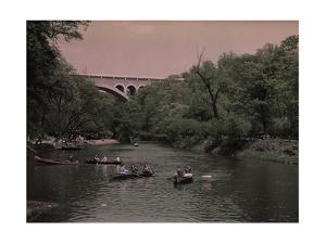 Canoes in Wissahickon Creek, and Walnut Lane Bridge in Distance by Clifton and Edwin Adams and Wisherd