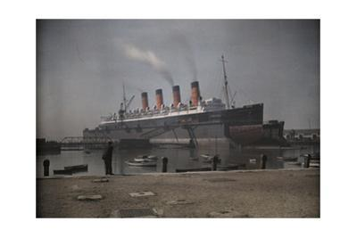 """A View of the Cunard S.S. """"Mauretania"""" at Dock by Clifton R. Adams"""