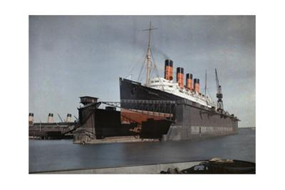 """The Cunard S.S. """"Mauretania"""" at Dock for Her Semiannual Hull Cleaning by Clifton R^ Adams"""