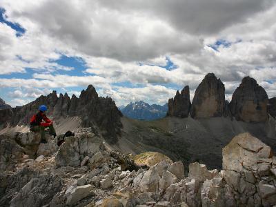 "Climber on ""Cima Dei Scarperi"" Peak Looking Out to Paterno Peaks-Ruth Eastham & Max Paoli-Photographic Print"