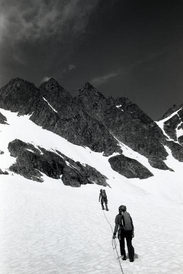 Climbers Ascending a Glacier on a Mountain Near Rogers Pass-Michael Hanson-Photographic Print