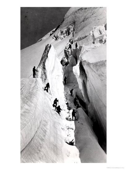 Climbers Ascending Mont Blanc, circa 1860- Bisson Freres Studio-Giclee Print