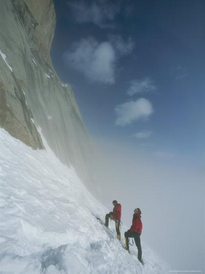 Climbers at Base of Great Sail Peak, Above Fog in Stewart Valley-Gordon Wiltsie-Photographic Print