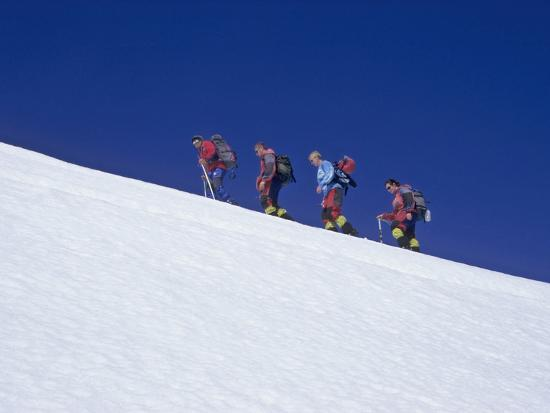 Climbers on Villarrica Volcano, Near Pucon, Lake District, Chile-Gary Cook-Photographic Print