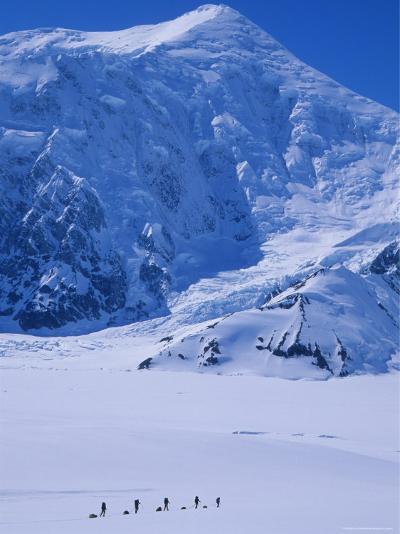 Climbing Expedition Passes Below Mount Forraker in the Alaska Range-Bill Hatcher-Photographic Print