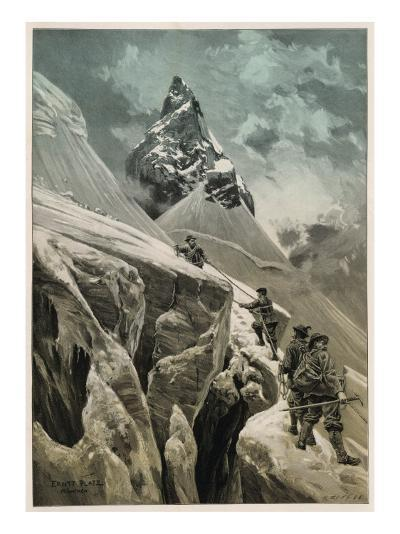 Climbing in the Swiss Alps--Giclee Print
