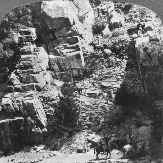 Climbing the Steep Zig-Zag Trail at the Eastern End of Yosemite Valley, California, USA, 1902-Underwood & Underwood-Giclee Print