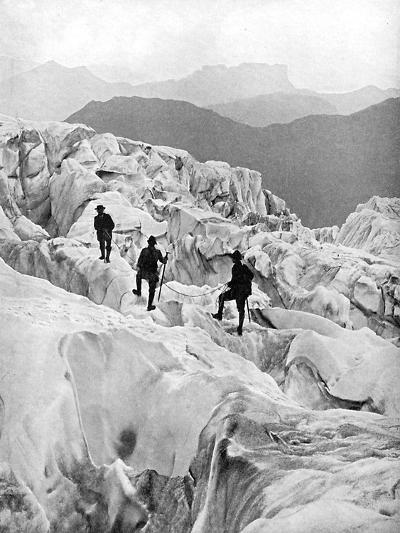 Climbing Through the Bossons Icefall on the Way Up Mont Blanc, Switzerland, Early 20th Century--Giclee Print