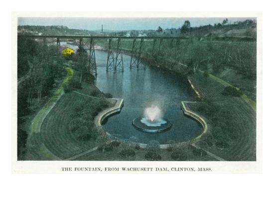 Clinton, Massachusetts - Aerial View of the Fountain from Wachusett Dam, c.1930-Lantern Press-Art Print