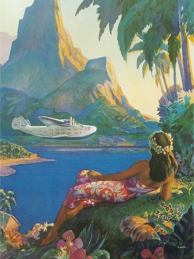 Clipper over Tahiti--Art Print