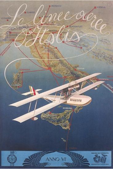 Clipper Plane over Italy--Art Print