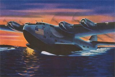 Clipper Plane Taking Off from Water--Art Print