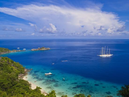 Clipper Ship Anchored Off Ko Miang Island, Similan Islands in the Andaman Sea, Thailand-Nico Tondini-Photographic Print