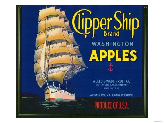 Clipper Ship Apple Label - Wenatchee, WA-Lantern Press-Art Print
