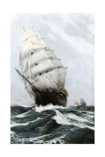 Clipper Ship Caribee, Famous for Speed, Built in Maine in 1852--Photographic Print