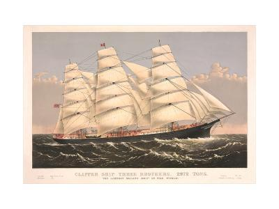 Clipper Ship Three Brothers, 2972 Tons, Largest Sailing Ship in the World--Art Print