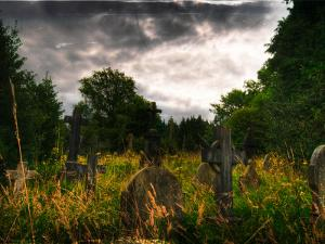Gravestones at Cathays Cemetery, Cardiff Wales by Clive Nolan