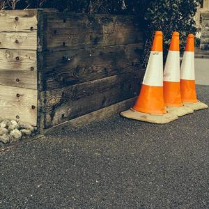 Three Road Cones by Clive Nolan