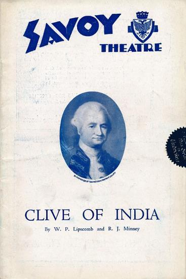 Clive of India programme for the Savoy Theatre, 1934-Unknown-Giclee Print