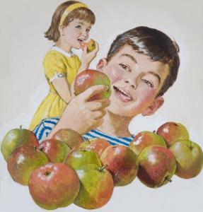 Boy and Girl with Apples by Clive Uptton