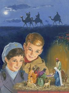 Children Admiring Nativity Scene by Clive Uptton