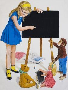 Girl with Blackboard by Clive Uptton