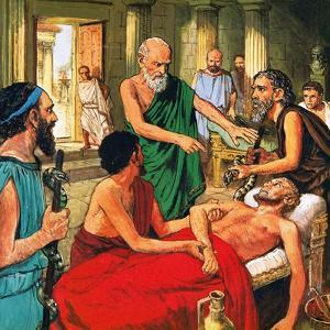 Hippocrates Discouraging the Use of Primitive Medical Techniques by Clive Uptton
