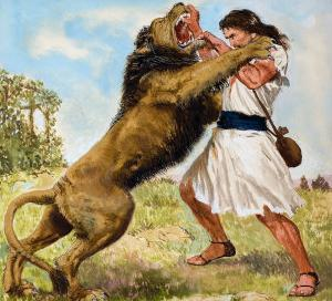 Samson Fighting a Lion by Clive Uptton