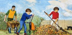 Sweeping Up Autumn Leaves by Clive Uptton