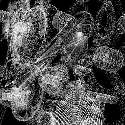 Clock Mechanism. Wire-Frame Render-cherezoff-Art Print