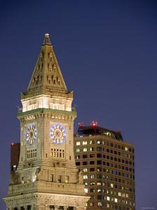 Clock Tower at Top of Building in Downtown Boston, Massachusetts