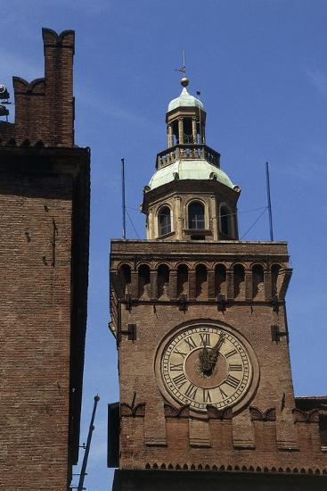 Clock Tower, Detail from Accursio Palace, Bologna, Emilia-Romagna, Italy--Giclee Print
