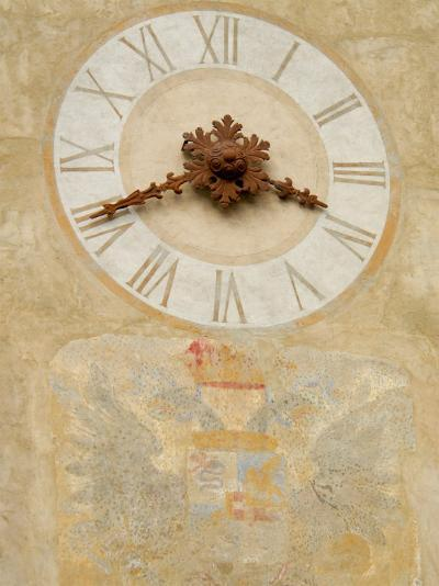 Clock Tower Detail in Hilltop Medieval Town, Bergamo, Italy-Lisa S^ Engelbrecht-Photographic Print