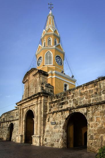 Clock Tower, Plaza de La Paz, Old City, Cartagena, Colombia-Jerry Ginsberg-Photographic Print