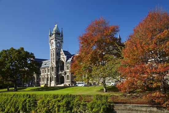 Clock Tower, Registry Building, University of Otago in Autumn, Dunedin, South Island, New Zealand-David Wall-Photographic Print