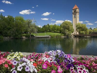 Clock Tower, Spokane River, Riverfront Park, Spokane, Washington, USA-Charles Gurche-Photographic Print