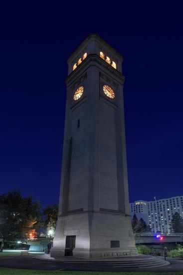 Clock Tower Spokane WA-Steve Gadomski-Photographic Print