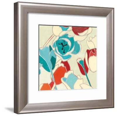 Cloisonne Tulipe I Turquoise Vignette-Shirley Novak-Framed Art Print