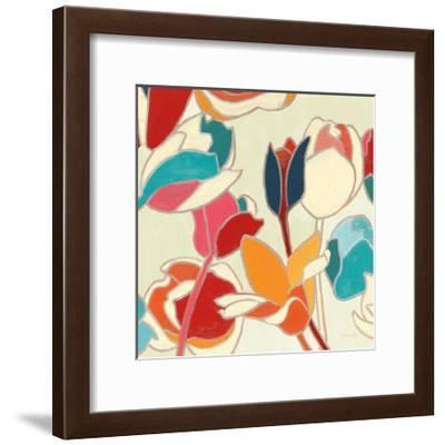 Cloisonne Tulipe II Turquoise and Indigo Vignette-Shirley Novak-Framed Art Print