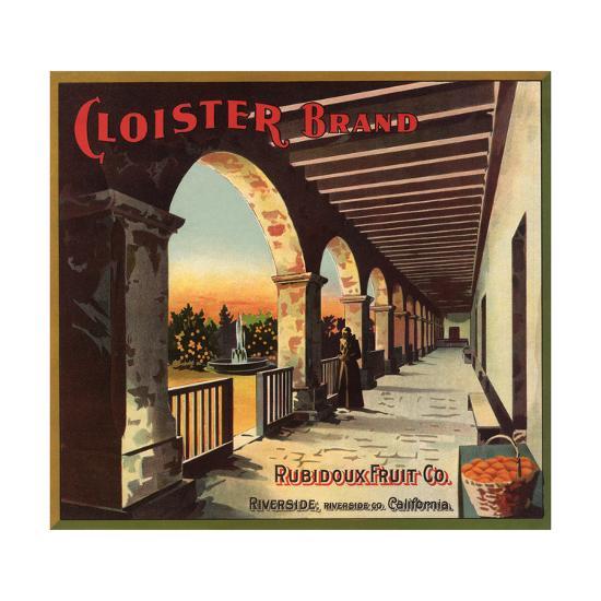 Cloister Brand - Riverside, California - Citrus Crate Label-Lantern Press-Art Print