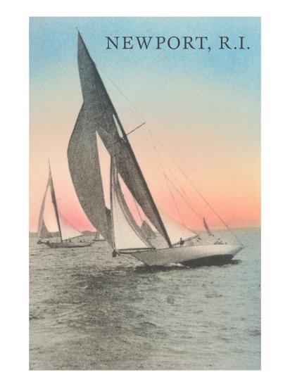 Close-Hauled Sailboat, Newport, Rhode Island--Art Print