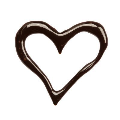 Close Up Chocolate Syrup Heart On White Background-donatas1205-Art Print