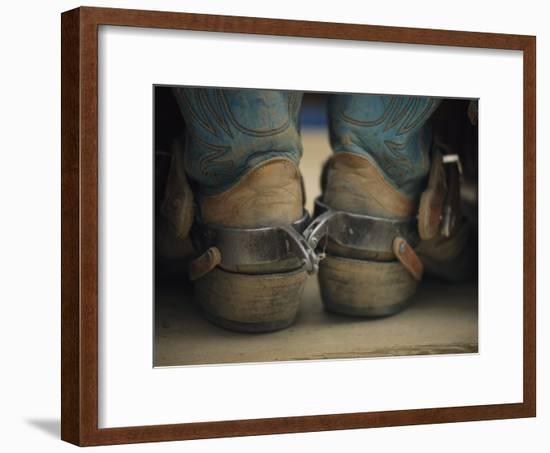 Close up Detail of Cowboy Boots with Well-Worn Spurs-Bobby Model-Framed Photographic Print