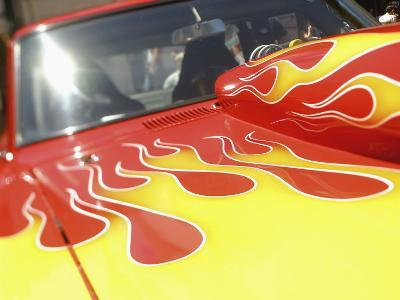 Close-up Image of a Flame Design on a Car Hood--Photographic Print