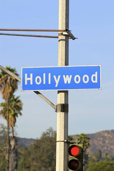 Close-Up of a Blue Street Sign on a Lamppost for Hollywood.-Thinkstock-Photographic Print